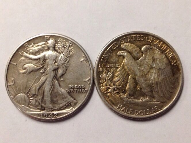2 Two 90 Silver Walking Liberty Half Dollars Junk Halves