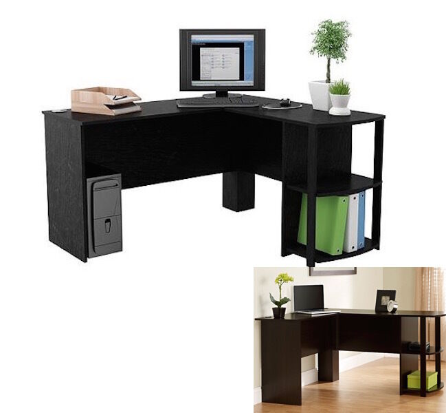 black l shaped wood desk computer table home furniture office new