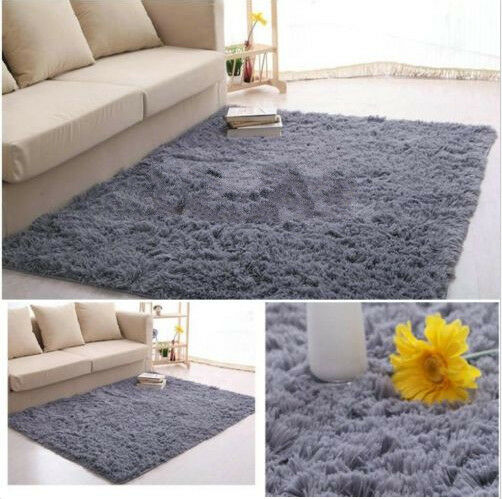 fluffy anti skid shaggy area rug dining living room carpet
