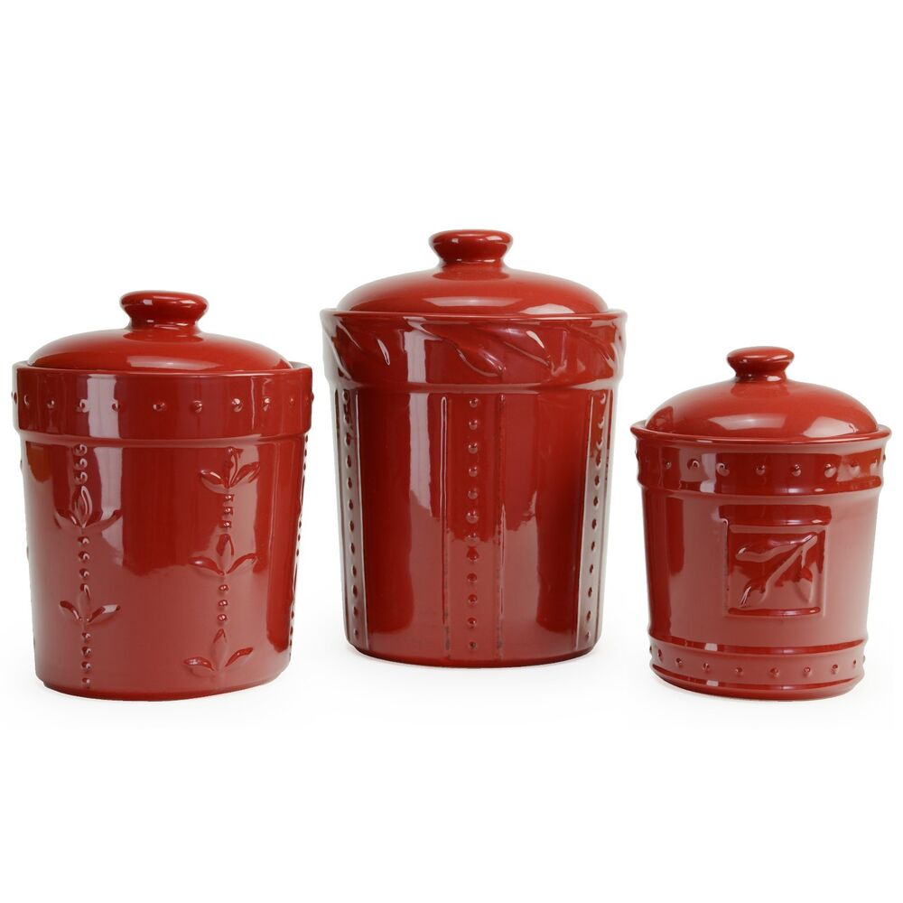 signature housewares 3 piece sorrento ruby red ceramic handpainted grapes kitchen canister set ceramics