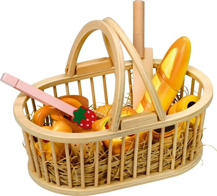 Toy Picnic Basket : Wooden picnic basket set bread cake cutting food role play