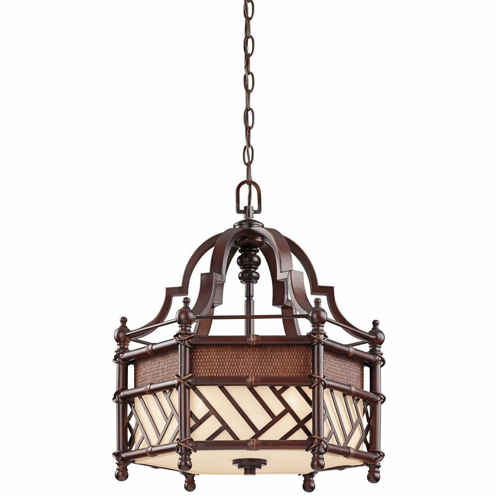 Cayman Bronze 3 Light Chandelier/Pendant With Beige Fabric
