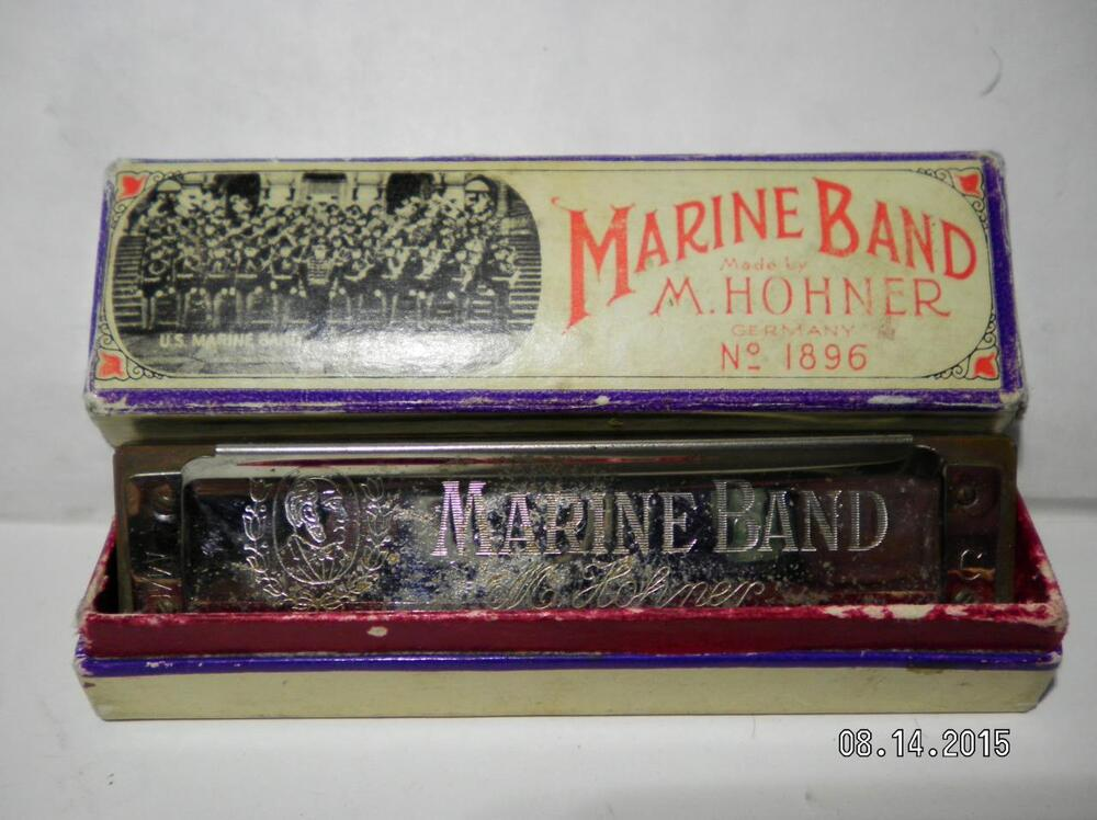 vintage m hohner marine band harmonica no 1876 with box ebay. Black Bedroom Furniture Sets. Home Design Ideas