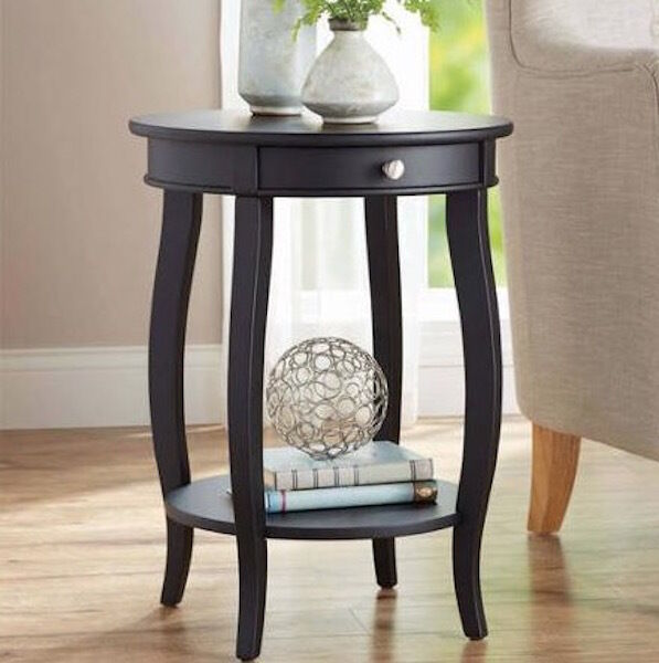 Black Modern French Accent Table Round Side End Sofa Console Living Room Furn