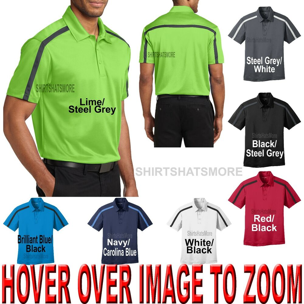 Mens moisture wicking shoulder stripe performance polo for Mens xs golf shirts