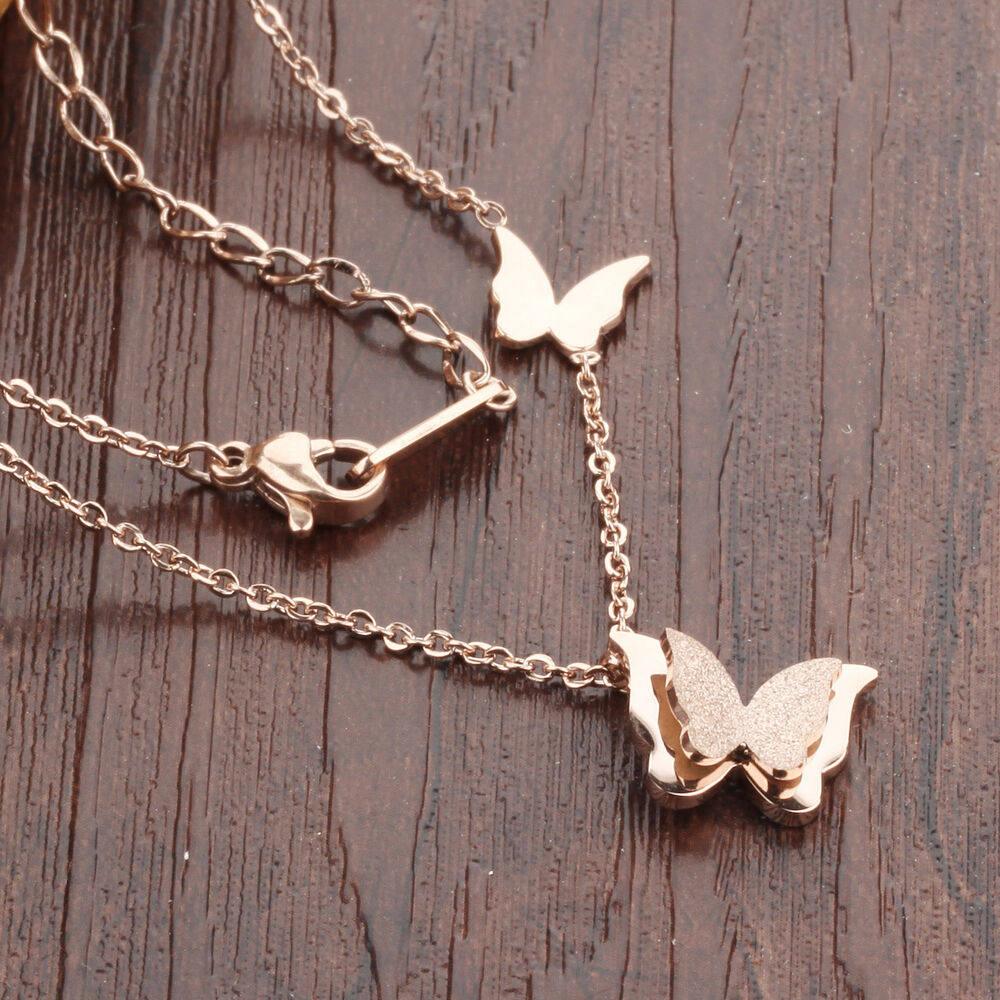 rose gold butterfly necklace pendant stainless steel women. Black Bedroom Furniture Sets. Home Design Ideas