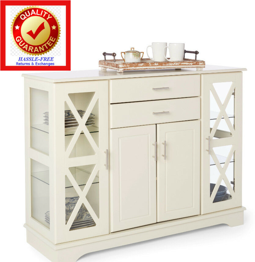 Buffet Kitchen Dining Room Storage China Cabinet Colonial Style White EBay