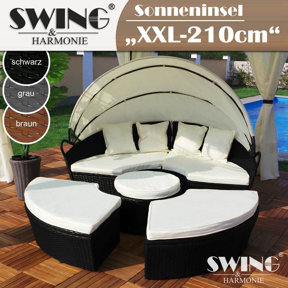 polyrattan sonneninsel liege insel sonnenliege rattan lounge sitzgruppe ebay. Black Bedroom Furniture Sets. Home Design Ideas