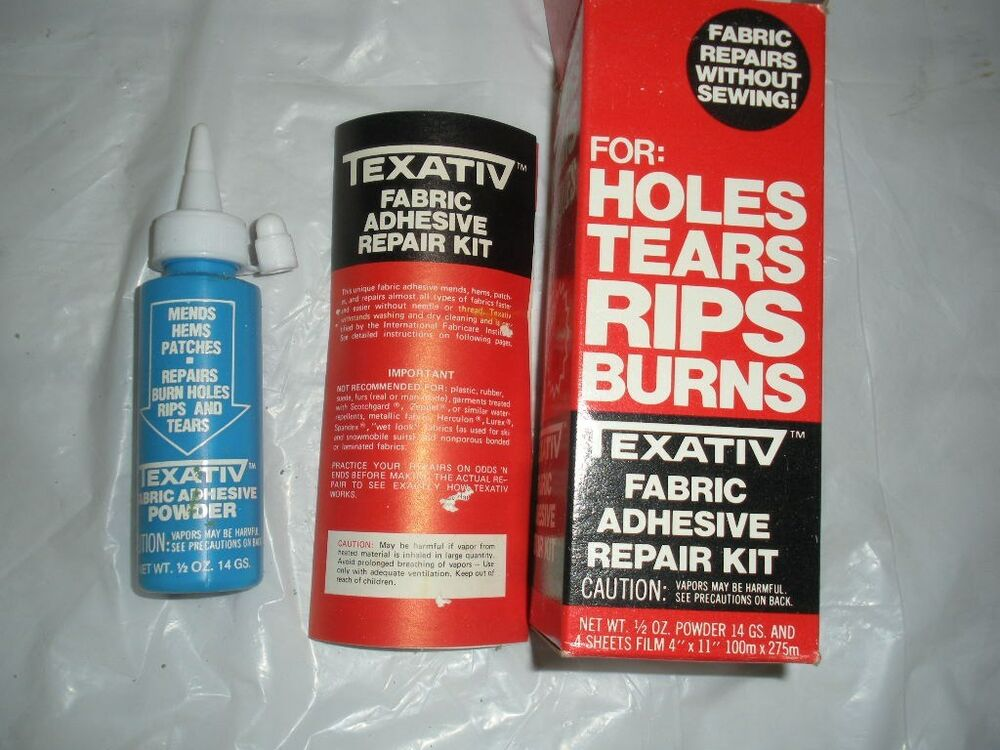 texativ fabric adhesive repair kit for holes rips tears burns on polyester ebay. Black Bedroom Furniture Sets. Home Design Ideas