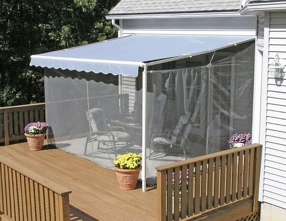 Sunsetter screen room for sunsetter retractable awning for Retractable deck screens