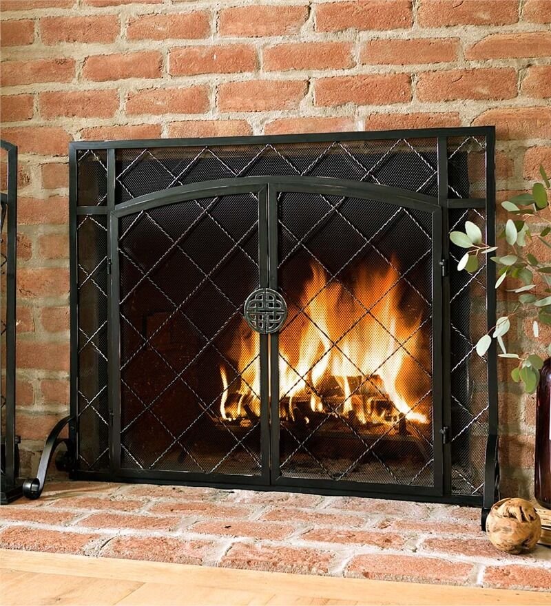 Steel Fire Screen Fireplace Flat Guard Firescreen Place W