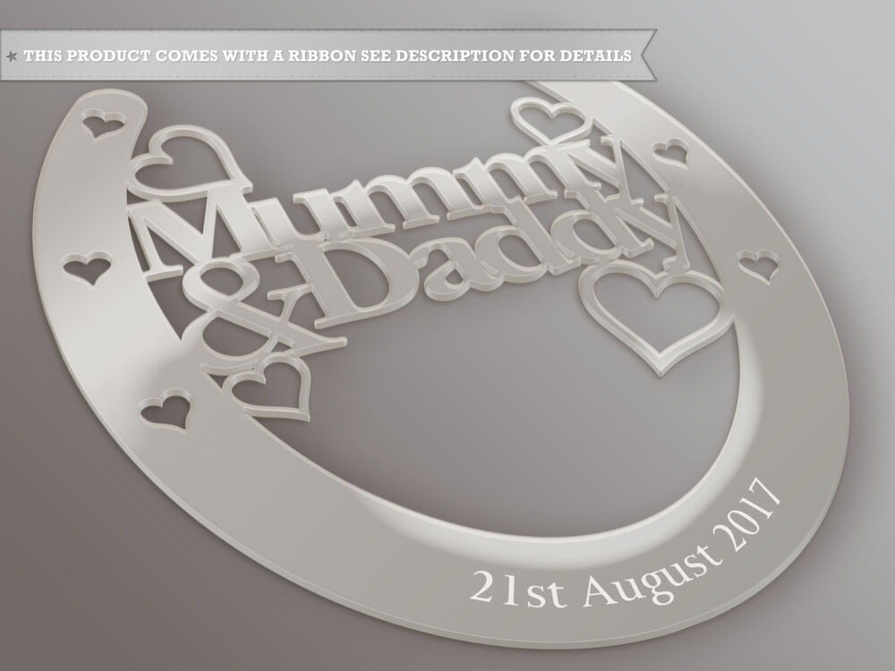Personalised Mummy And Daddy Good Luck Horseshoe Bridal And Wedding ...