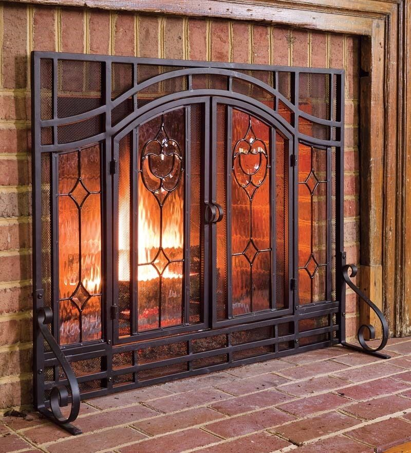 fireplace screen fire place beveled glass double doors black tubular