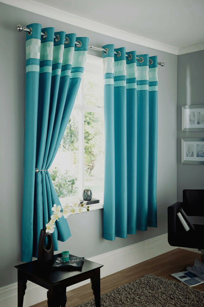 Faux Silk Teal Curtains Ring Top Eyelet Crinkle Band Blue Green Turquoise Ebay