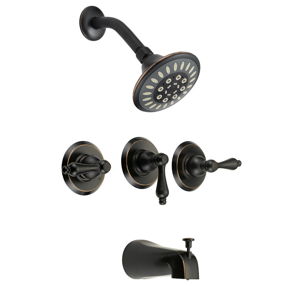 Designers Impressions Oil Rubbed Bronze 3 Handles Tub Shower Combo Faucet 651