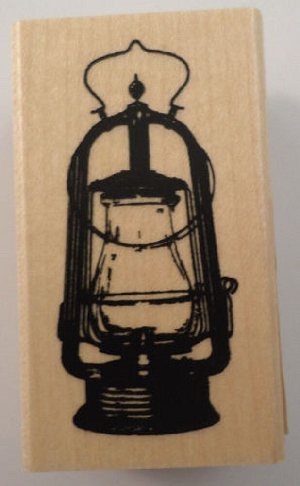 Western colonial vintage lantern inkadinkado wooden rubber for Custom craft rubber stamps