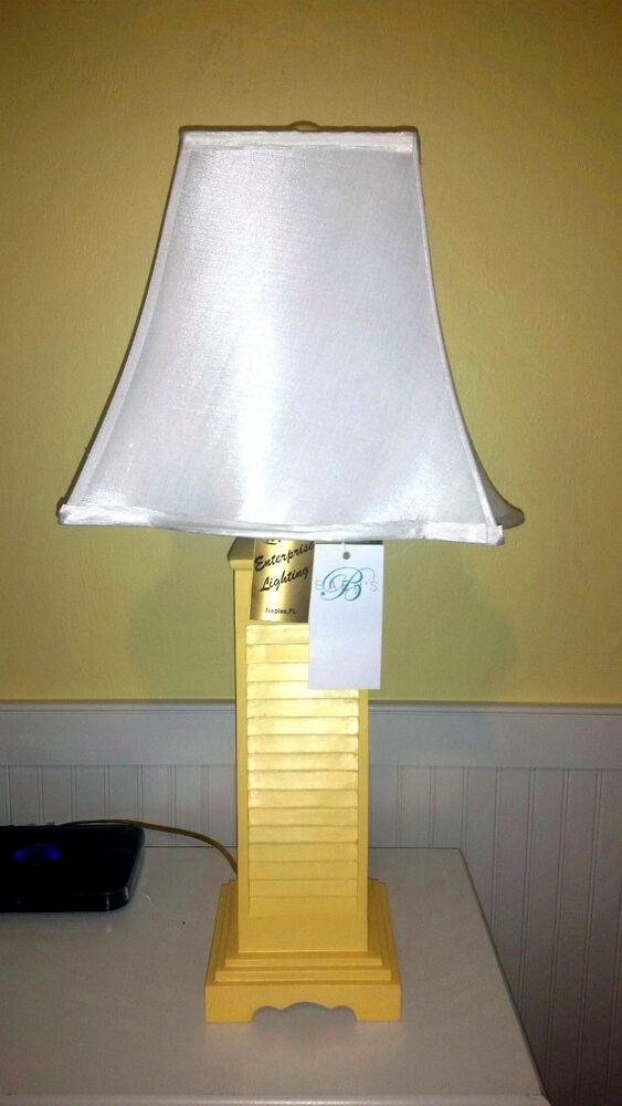 Shutter Table Lamp : Table lamp set quot yellow white nautical cottage beach