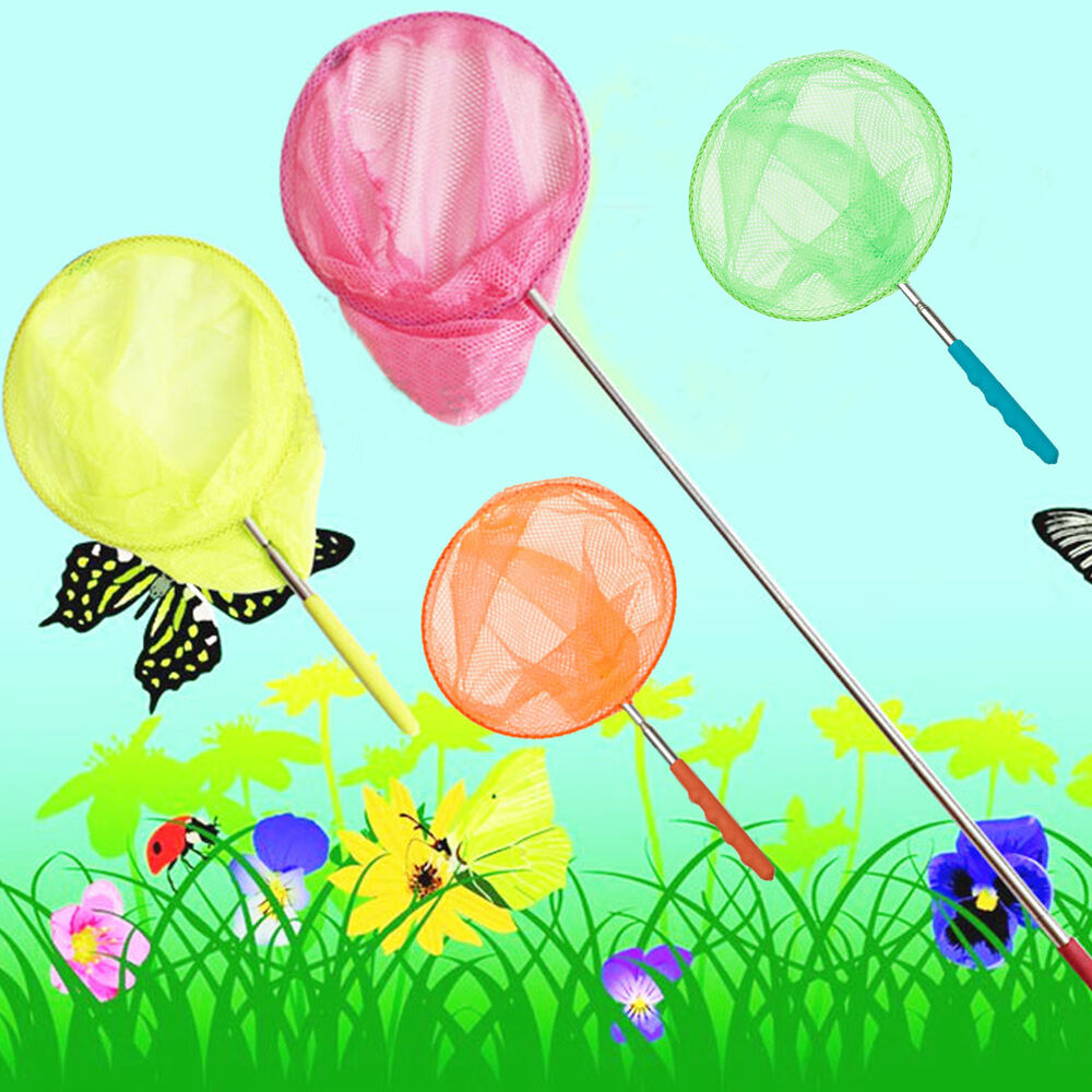 Kids extendable fishing telescopic handle bug butterfly for Kids fishing nets