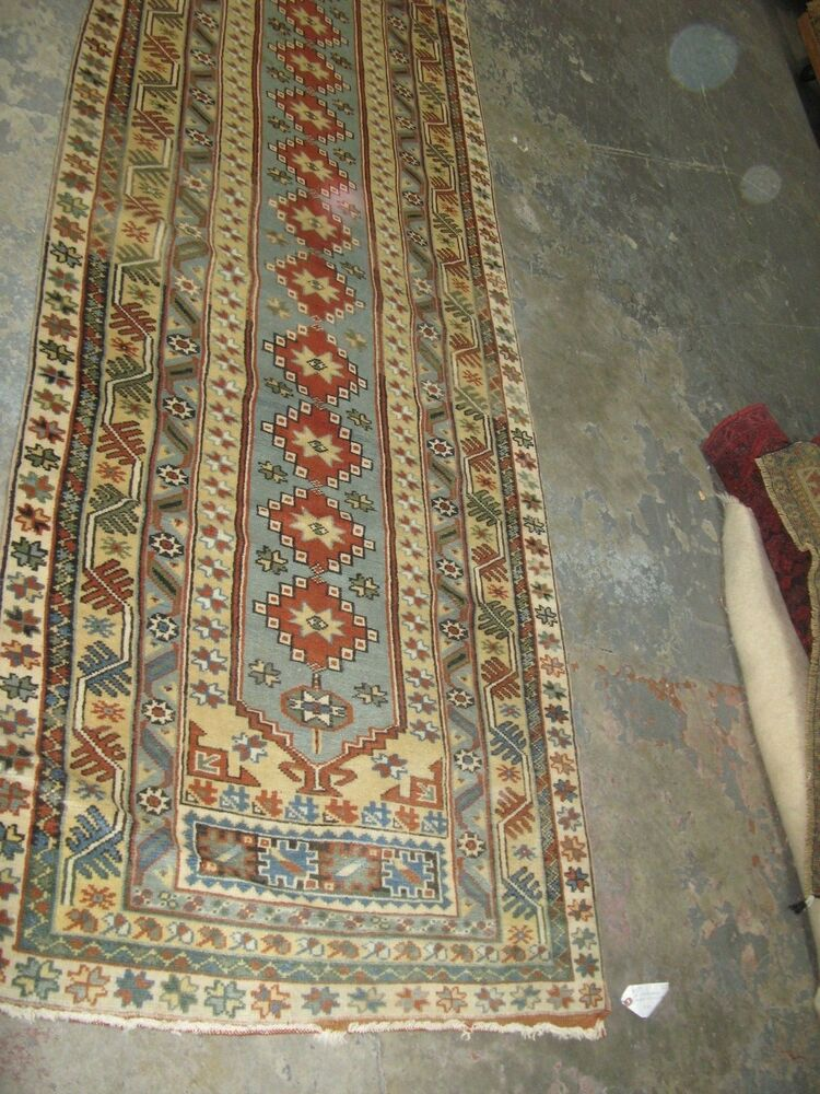 Semi Antique Oushak Turkish Runner Hand Knotted Wool Rug 3