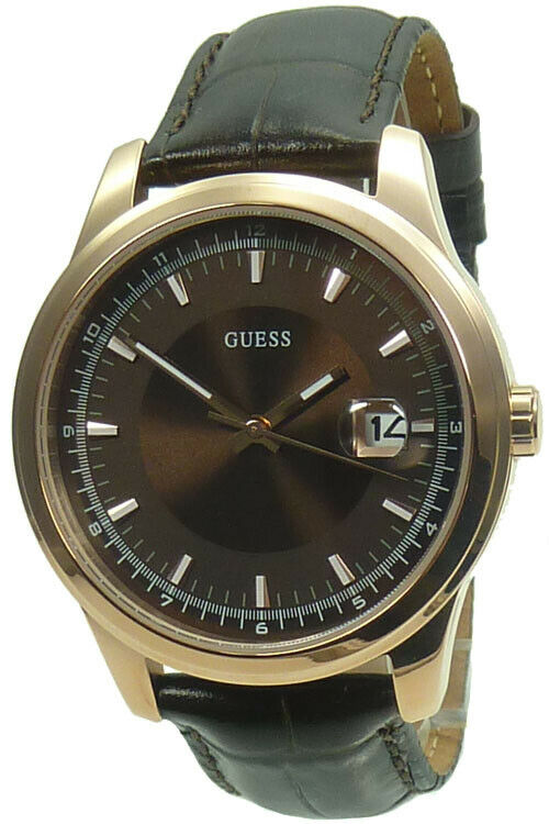 Guess Men's Watch W0250G2 SLICK rose gold brown Leather ...