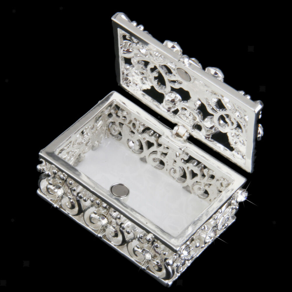 Silver Plated Diamante Crystal Enamel Jewelry Trinket Box