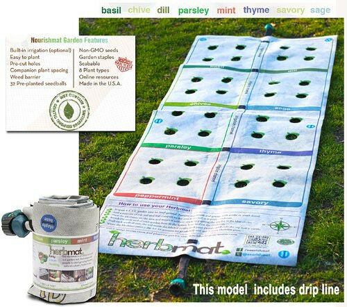 Instant Garden Roll : Instant roll out herb garden with plant varieties drip