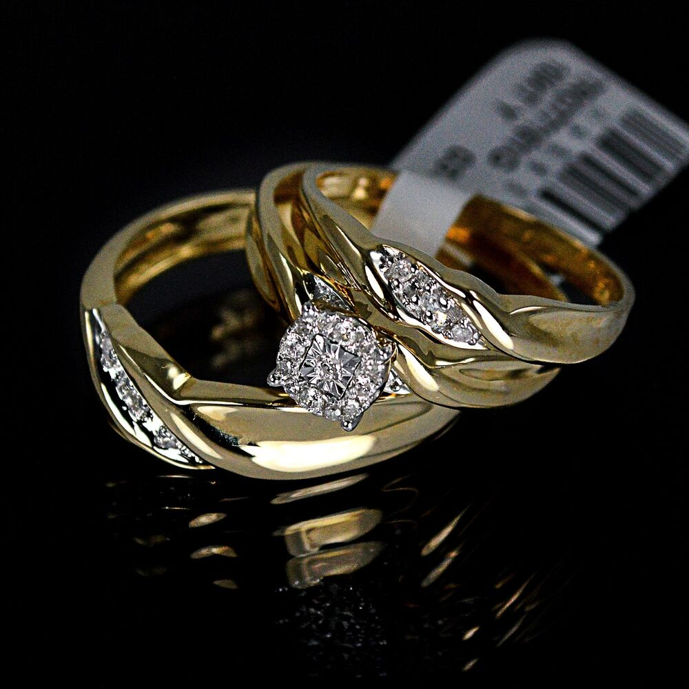 men 39 s ladies yellow 10k gold real genuine diamond ring. Black Bedroom Furniture Sets. Home Design Ideas