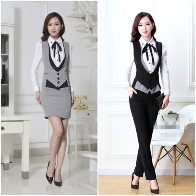 Elegant Autumn And Winter Formal Grey Women Business Suits With Pants + Jacket + Vest Sets Ladies Office ...