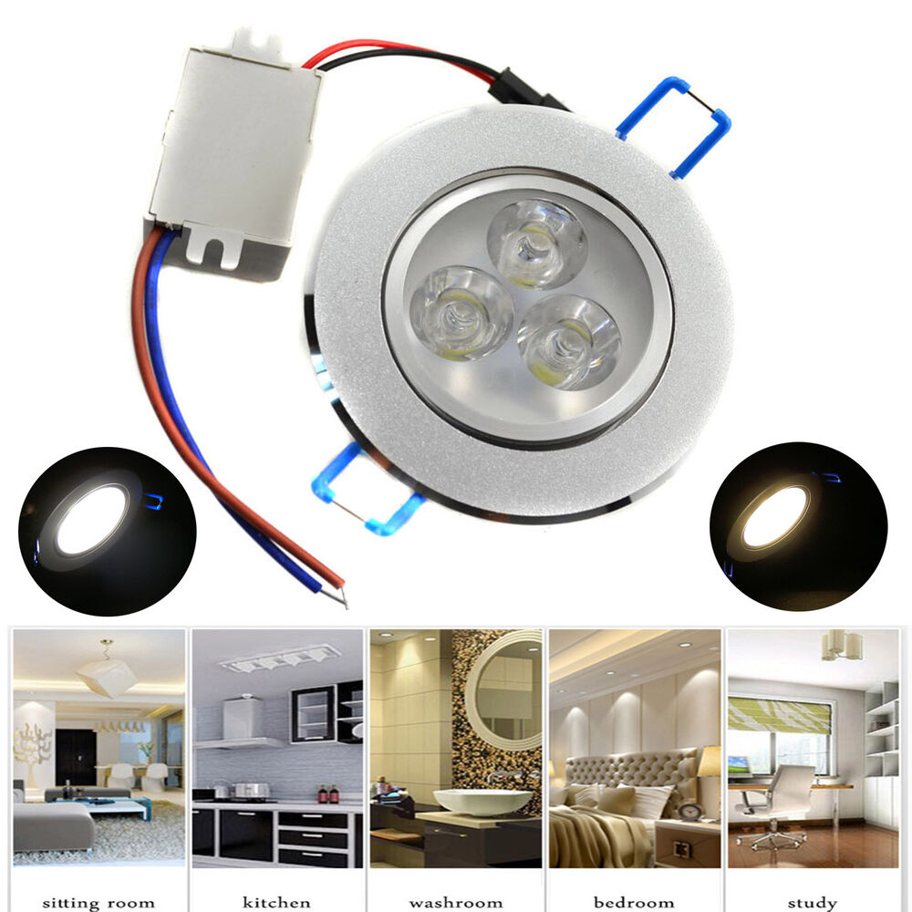 dimmable 3w led ceiling recessed downlight fixture lamp spot light free driver ebay. Black Bedroom Furniture Sets. Home Design Ideas