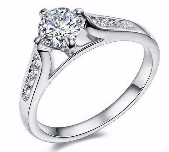 D VVS1 Diamond Engagement Ring 1 Carat Round Cut 14kGP White Gold Bridal Jewe