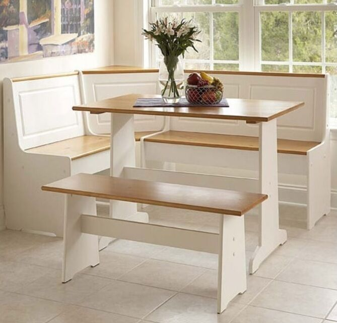 White kitchen corner nook set breakfast table bench 3 pc booth dining room pine ebay - Dining room table with corner bench ...