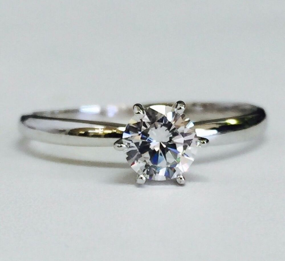 14k Solid White Gold Cubic Zirconia Engagement Solitaire