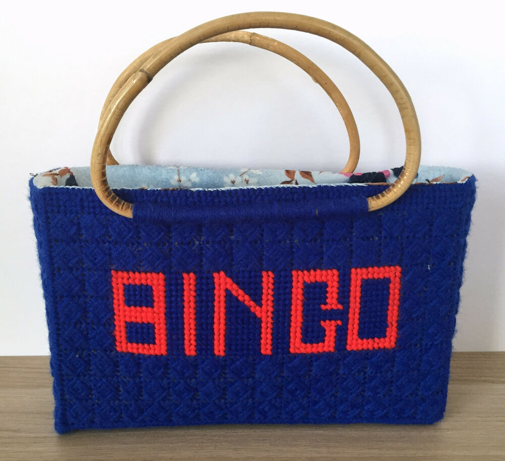 Crochet Pattern For Bingo Bag : Vintage Handmade Knitting Sewing Crochet BINGO Tote Bag ...