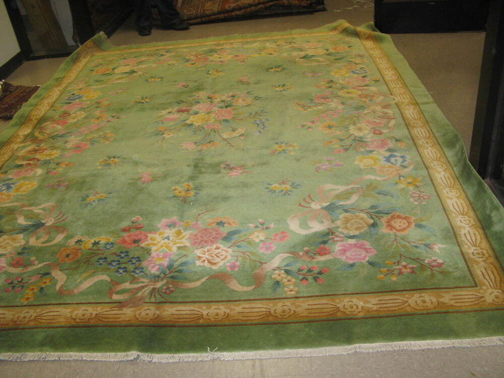 Vintage green floral art deco chinese area rug 9 39 0 x 12 for Where can i buy area rugs
