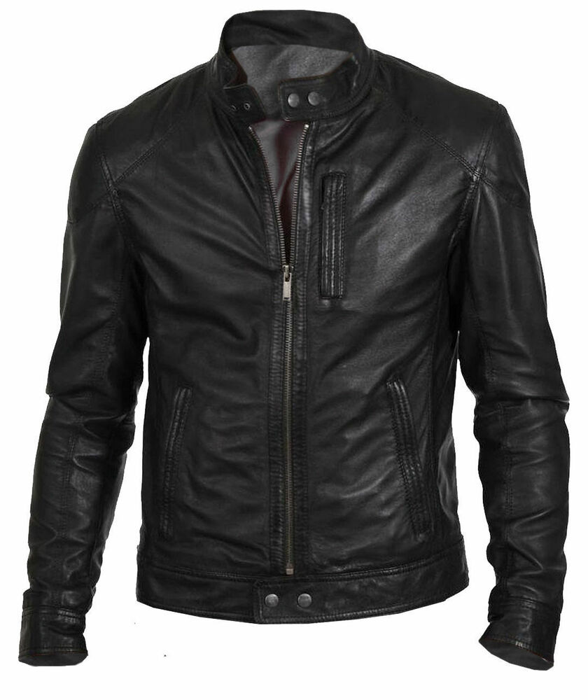 Men's Biker Hunt Black Motorcycle Leather Jacket | eBay