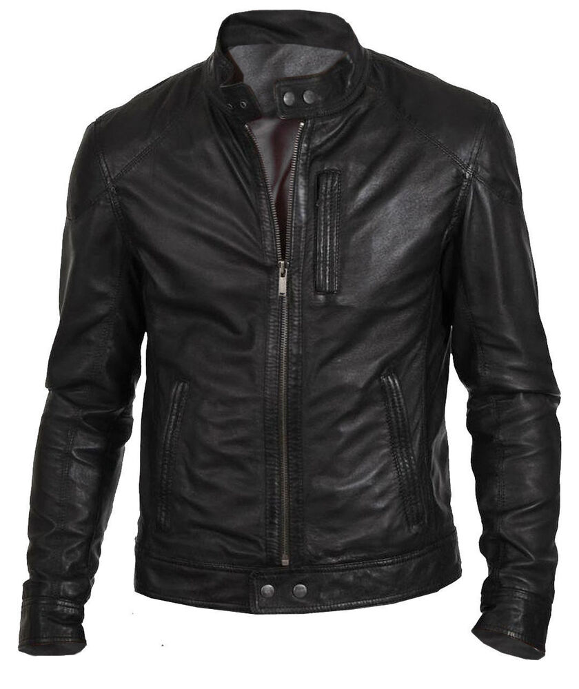 Menu0026#39;s Biker Hunt Black Motorcycle Leather Jacket | EBay