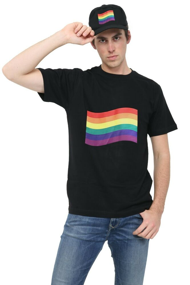 Mens Gay Pride Rainbow Print Multicolour T-Shirt Gay ...