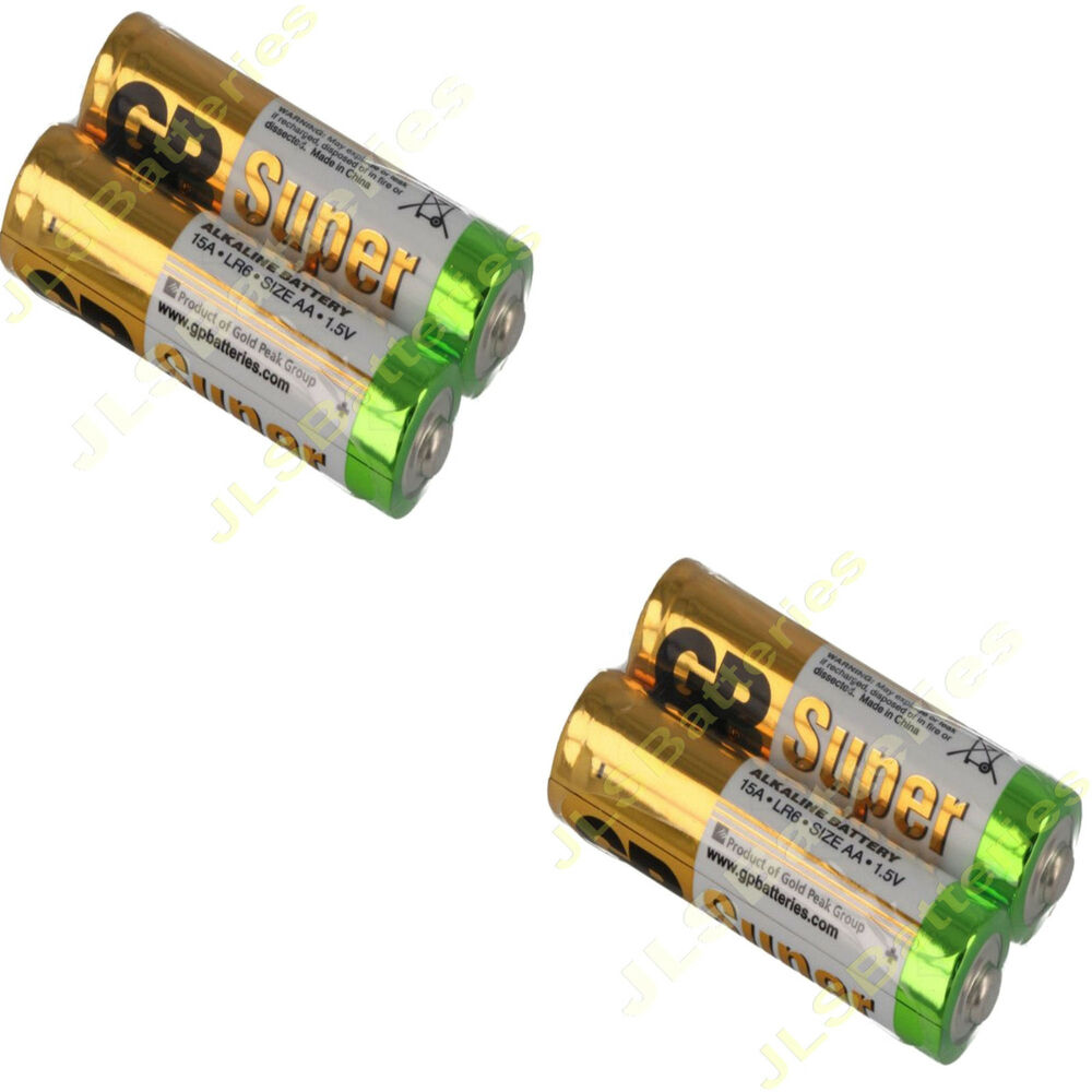 4 x aa gp super alkaline batteries lr6 15a 1 5v dated 2021 battery ebay. Black Bedroom Furniture Sets. Home Design Ideas