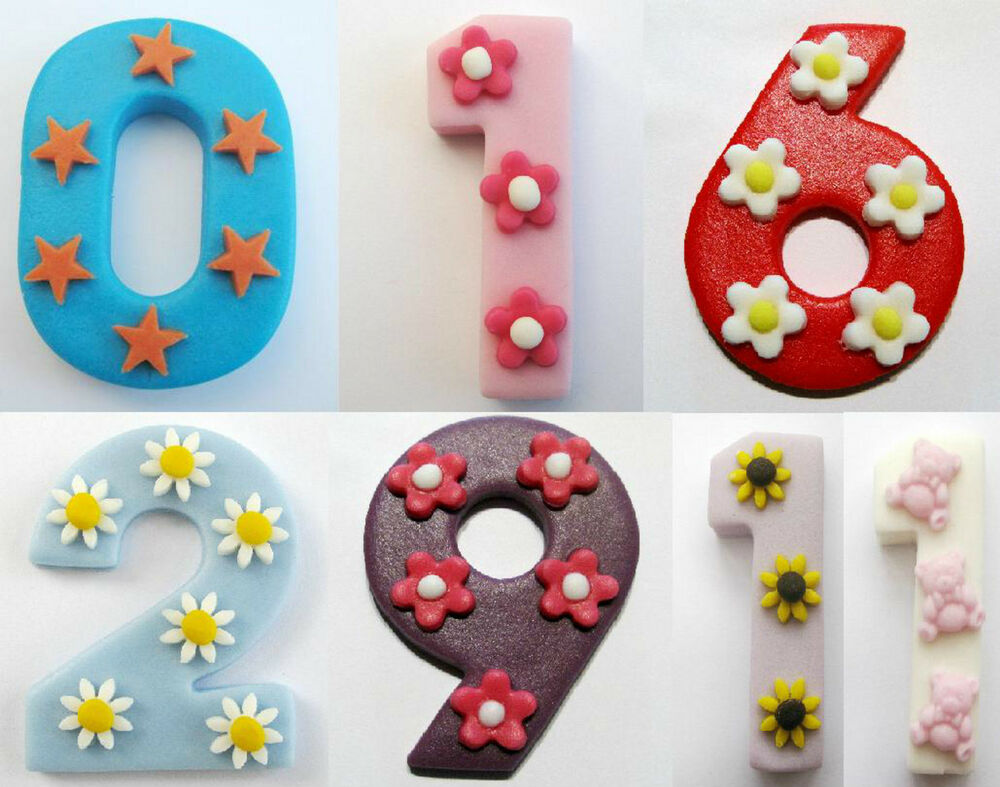 Edible Cake Decorations Numbers : Large edible Number CHOOSE NUMBER COLOUR & DECORATION ...