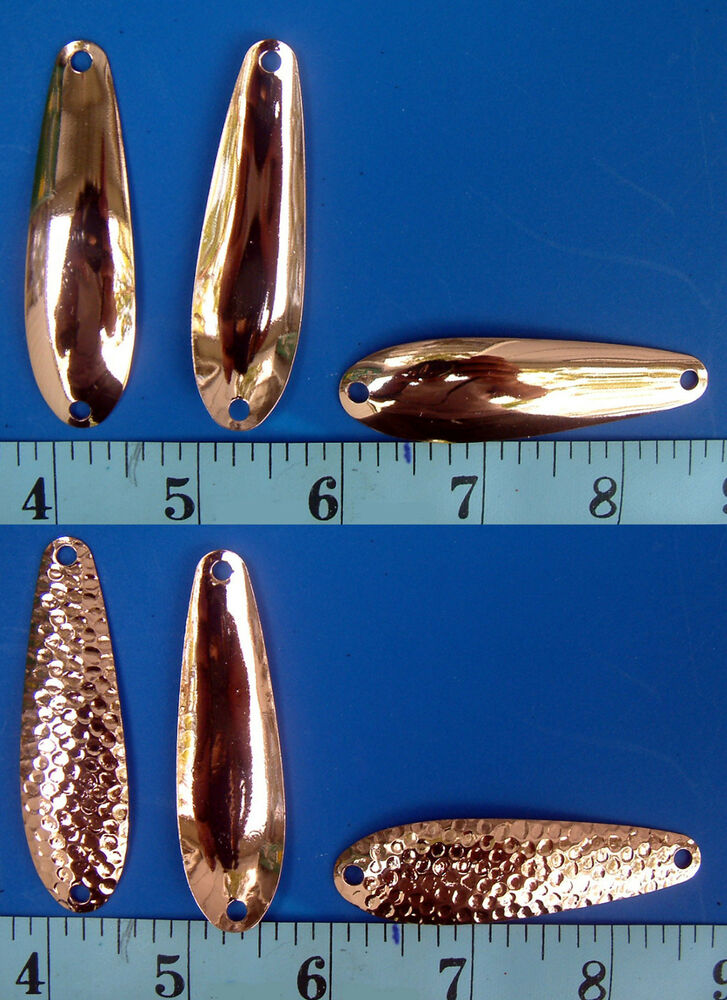 Copper plated 2 5 8 smooth or hammered spoon blanks for Fishing spoon blanks