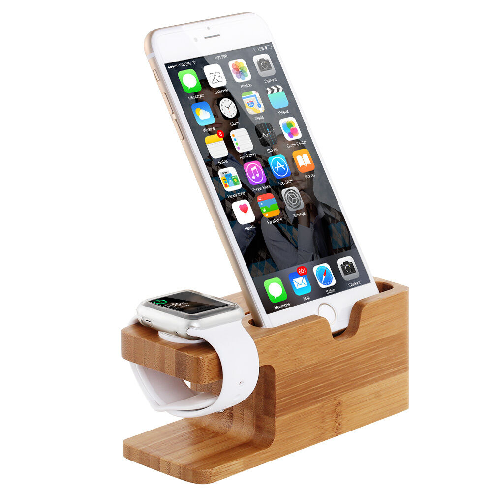 bamboo dock station charger charging stand holder for apple watch iwatch iphone ebay. Black Bedroom Furniture Sets. Home Design Ideas
