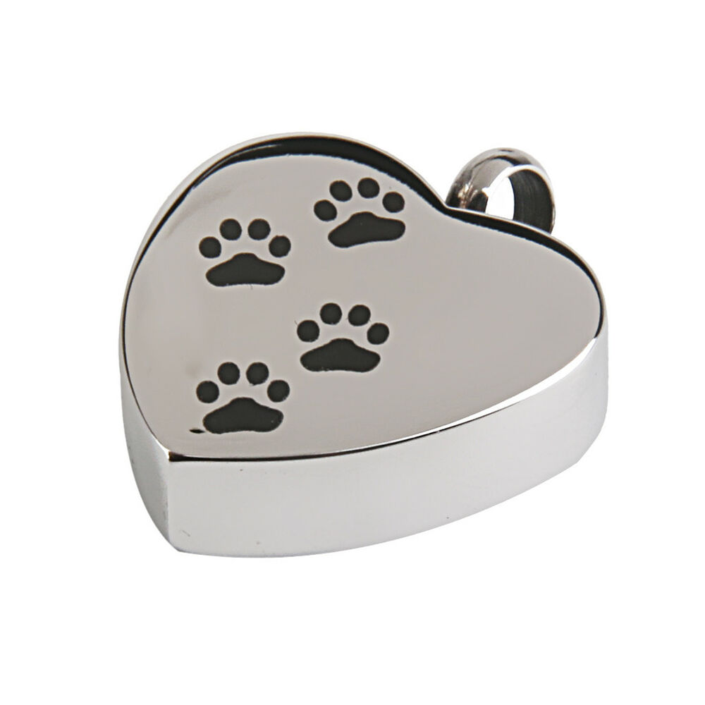 Memorial Dog Pet Paw Heart Cremation Pendant Urn Jewelry