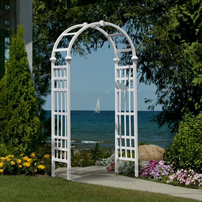 Tall garden arbor white entryway pathway lawn patio arch for Trellis or arbor