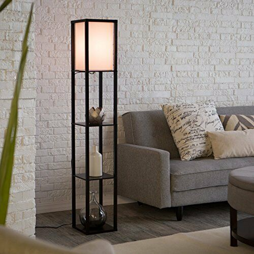 Black Shelf Modern Floor Lamp With Off White Shade Floor