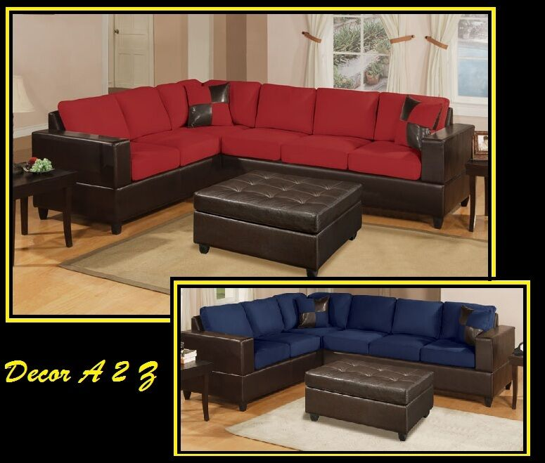 2 Pcs Microfiber Amp Leather Sectional Sofa In 8 Colors Ebay
