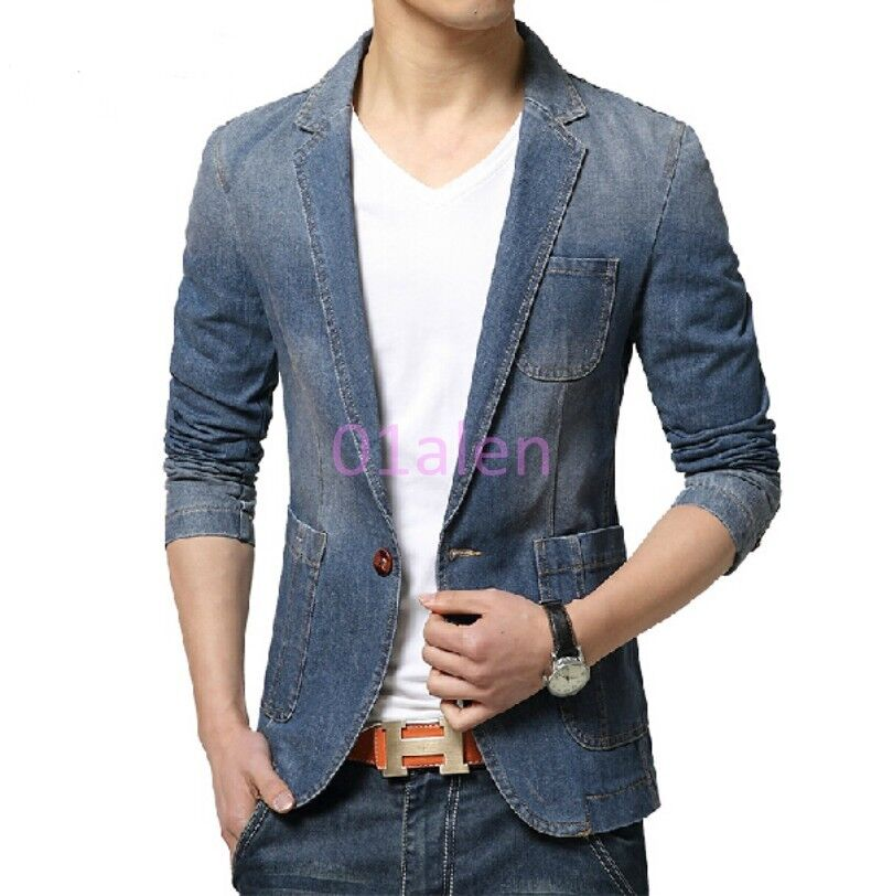 2016 Chic Mens One Button Blazer Denim Jeans coats Slim Fit Casual Cowboy Jacket | eBay