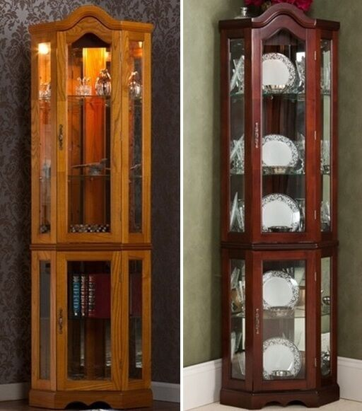 lighted display curio cabinet mahogany cabinets oak case. Black Bedroom Furniture Sets. Home Design Ideas