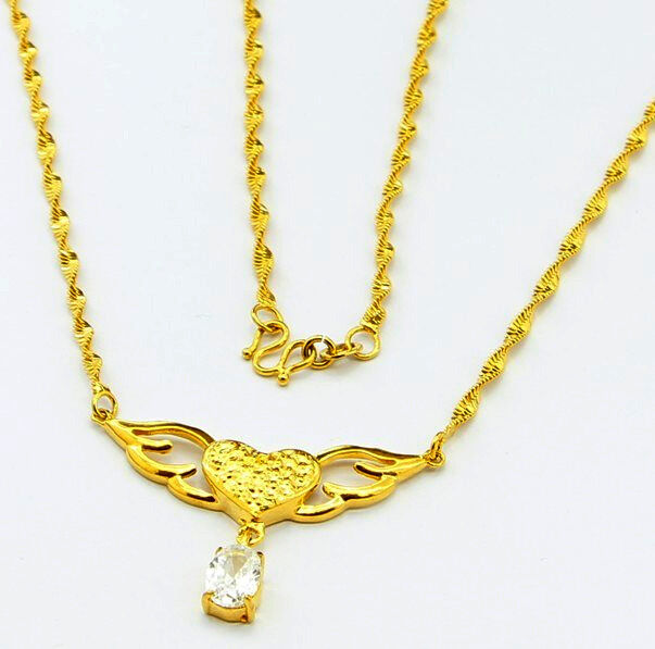 fashion jewelry 24k yellow gold plated heart pendant women. Black Bedroom Furniture Sets. Home Design Ideas
