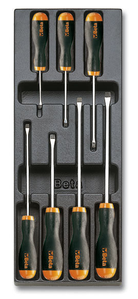 beta tools t210 slotted screwdriver set in tray 7pc ebay. Black Bedroom Furniture Sets. Home Design Ideas