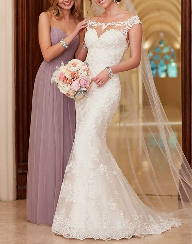 New mermaid wedding dress white ivory bridal ball gown for Size 8 wedding dress measurements